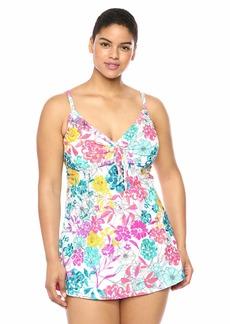Kenneth Cole REACTION Women's Plus Size Long Tie Front Keyhole Halter Tankini Swimsuit Top White/Floral//Paint The Garden