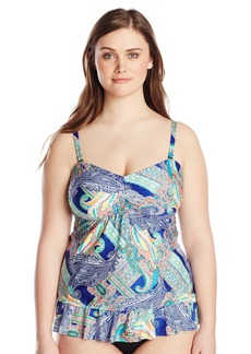 Kenneth Cole REACTION Women's Plus-Size Paisley Intuition Blouson Tankini