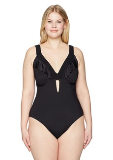 Kenneth Cole REACTION Women's Plus Size Tummy Control One Piece Swimsuit