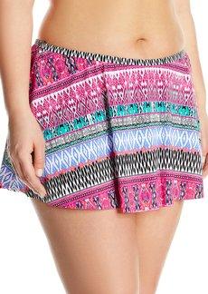 Kenneth Cole Reaction Women's Plus Size Riviera Stripe Flyaway Skirted Bikini Bottom  2X