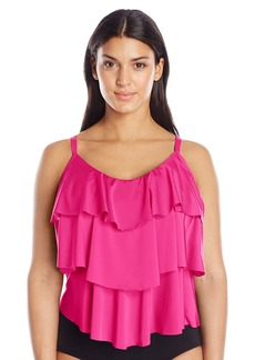 Kenneth Cole REACTION Women's Plus-Size Ruffle-Licious Ruffle Tiered Tankini  2X