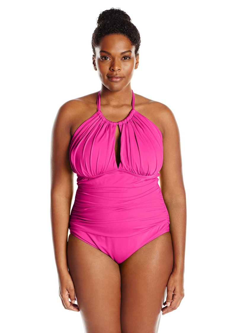 0bab36834f Kenneth Cole REACTION Women's Plus-Size Ruffle Shuffle Solid Hi Neck One  Piece Swimsuit 3X