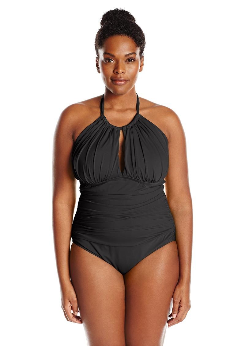 7e6fd9202e5fb Kenneth Cole REACTION Women s Plus-Size Ruffle Shuffle Solid Hi Neck One  Piece Swimsuit