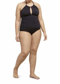 Kenneth Cole REACTION Women's Plus-Size Ruffle Shuffle Solid High-Neck Swimsuit