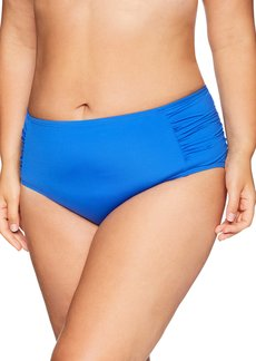 Kenneth Cole REACTION Women's Plus Size Shirred High Waist Swimsuit Bottom