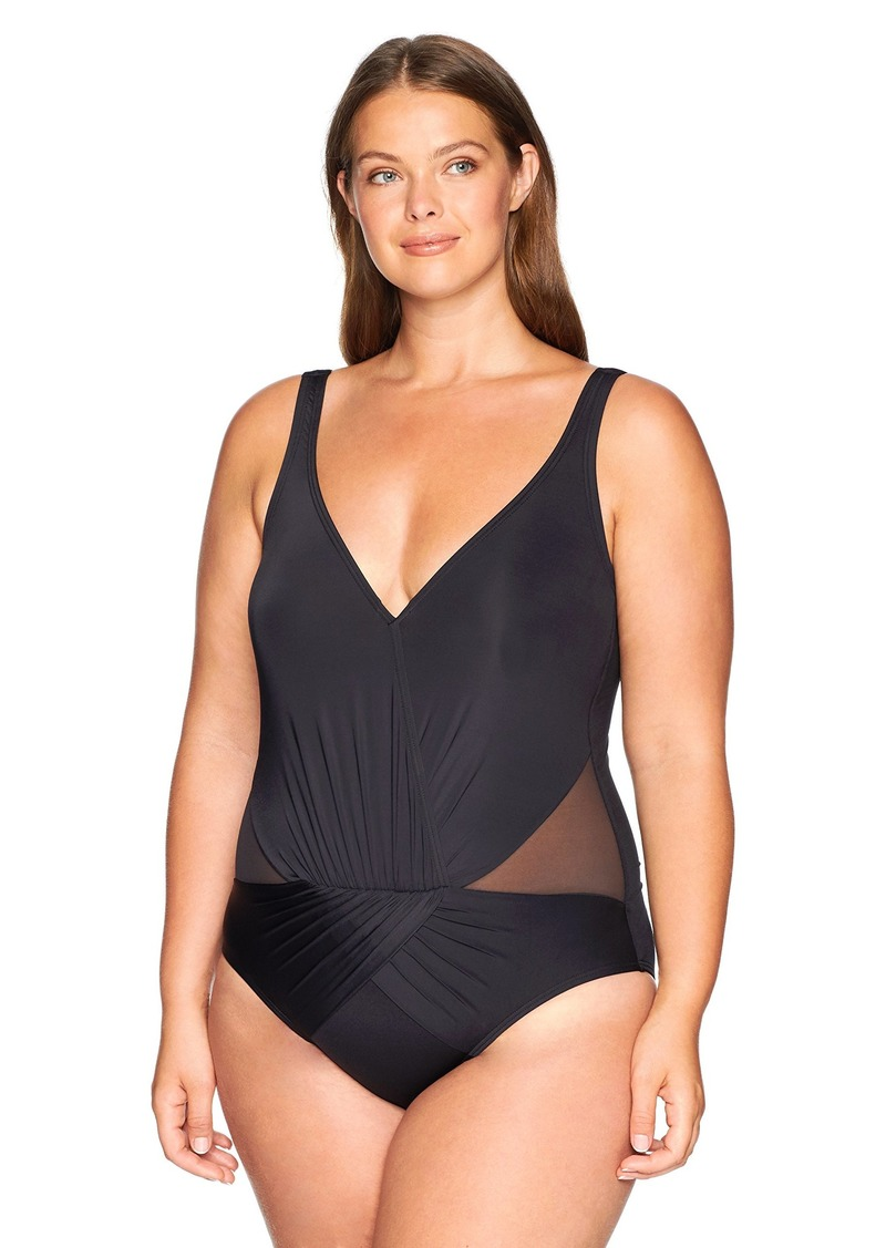 Kenneth Cole REACTION Women's Plus-Size Tummy Control Shirred V-Neck One Piece Swimsuit