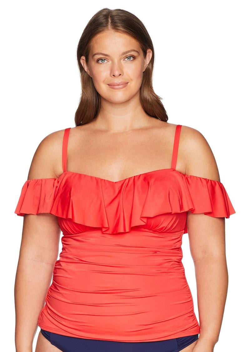 d7db2e4739 Kenneth Cole REACTION Women s Plus Size Tummy Control Tankini Swimsuit Top