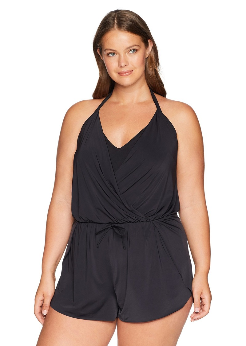 Kenneth Cole REACTION Women's Plus-Size V-Neck One Piece Romper Swimsuit