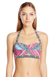 Kenneth Cole Reaction Women's Riviera Stripe Twist-Front Halter Bra Bikini Top with Foam Cups  L