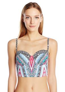 Kenneth Cole Reaction Women's Riviera Stripe Underwire Bustier Bra Bikini Top  M