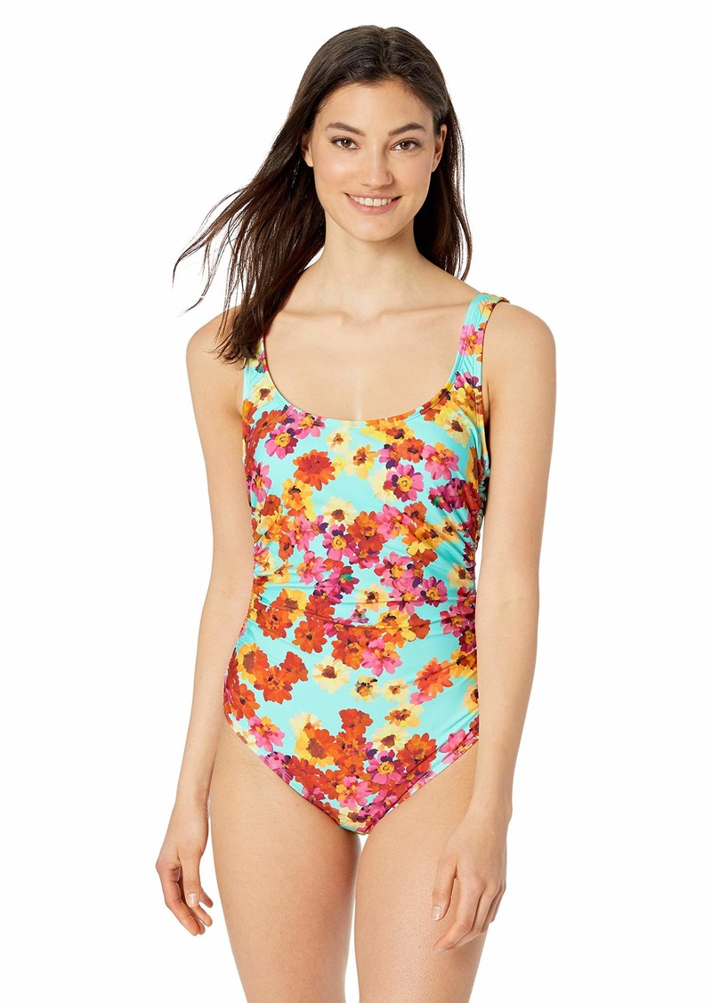 Kenneth Cole REACTION Women's Ruched Front One Piece Swimsuit Pink//in The Garden XL