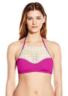 Kenneth Cole Reaction Women's Ruffle Shuffle Hi Neck Crochet Bandeau Bikini Top