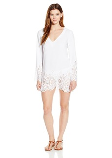 Kenneth Cole Reaction Women's Scalloped Away V Neck Tunic Coverup