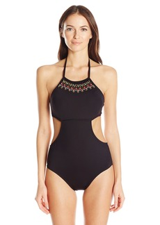 Kenneth Cole Reaction Women's Sea Gypsy Hand Beaded High Neck Cut-Out One Piece Swimsuit  XL