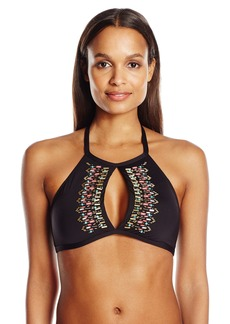 Kenneth Cole Reaction Women's Sea Gypsy Hand Beaded Keyhole High Neck Bra Bikini Top  M