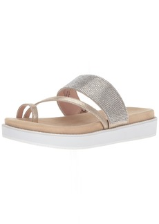 Kenneth Cole REACTION Women's Slam Shot Flat Sandal with Toe Ring and Micro-Jewel Strap   M US