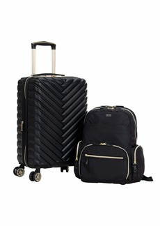 """Kenneth Cole Reaction Women's Sophie Backpack Silky Nylon 15"""" Laptop & Tablet RFID Bookbag for School Work & Travel Black With 20"""" Carry-On"""