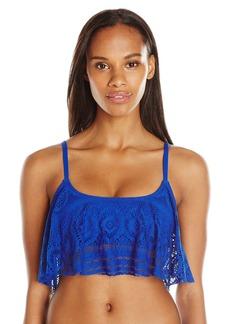 Kenneth Cole Reaction Women's Suns Out Buns Out Crochet Flounce Bra Bikini Top