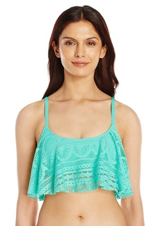 Kenneth Cole Reaction Women's Suns Out Buns Out Crochet Flounce Bra Bikini Top SFM