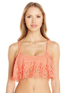 Kenneth Cole Reaction Women's Suns Out Crochet Buns Out Flounce Bikini Top