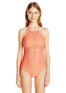 Kenneth Cole Reaction Women's Suns Out Crochet Buns Out One Piece Swimsuit