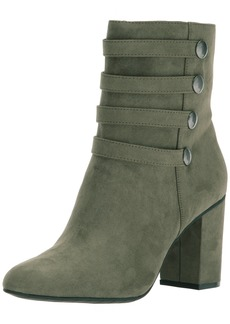 Kenneth Cole REACTION Women's TIME to BE Ankle Bootie with Faux Button Detail Suede Boot  8.5 Medium US