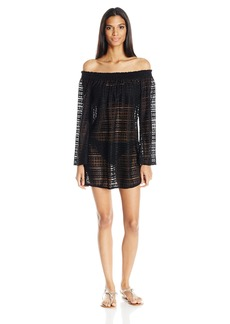 Kenneth Cole REACTION Women's to The Beat Long Crochet Dress Cover up with Bell Sleeves  M