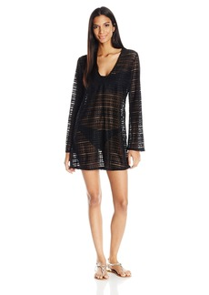 Kenneth Cole REACTION Women's to The Beat V-Neck Long Sleeve Crochet Cover up Tunic with Fringe Detail  L