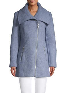 Kenneth Cole REACTION Wool-Blend Asymmetric Zip-Front Coat