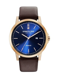 Kenneth Cole Round Stainless Steel, Diamond & Leather-Strap Watch
