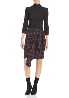 Kenneth Cole Ruffled Tartan Combo Dress