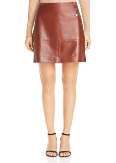 Kenneth Cole Seamed Leather Mini Skirt