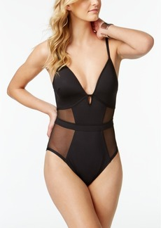 Kenneth Cole Sexy Solids Mesh Inset Push-Up Tummy Control One-Piece Swimsuit Women's Swimsuit