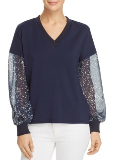 Kenneth Cole Sheer-Sleeve Top