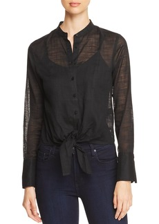 Kenneth Cole Sheer Tie-Front Top