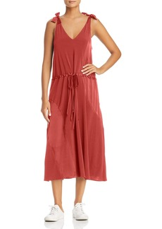 Kenneth Cole Shoulder Tie Drawstring Midi Dress