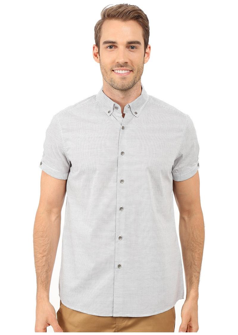 Kenneth Cole Sportswear Short Sleeve Button Down Collar Horizontal Stripe