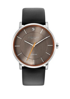 Kenneth Cole Stainless Steel, Diamond & Leather-Strap Watch