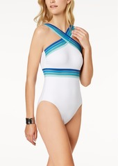 Kenneth Cole Stompin' In Stilettos One-Piece Illusion-Striped Swimsuit Women's Swimsuit