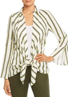 Kenneth Cole Striped Layered Tie-Front Shirt