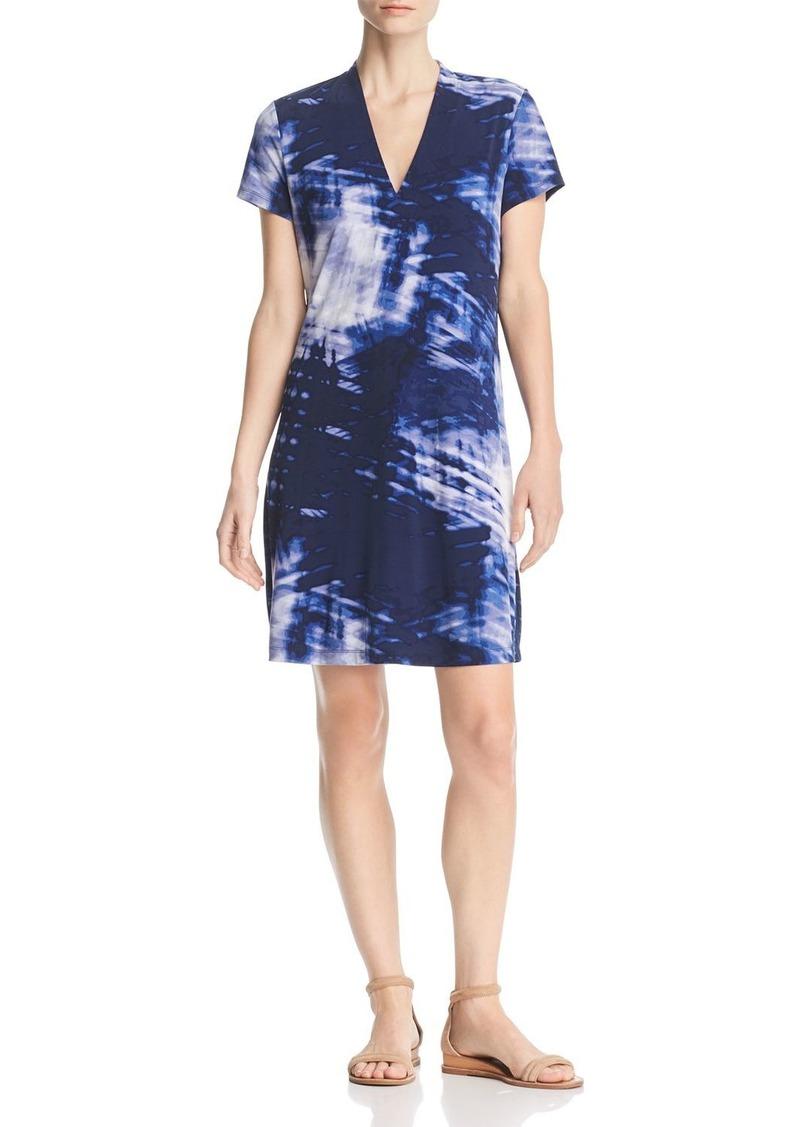 Kenneth Cole Tie-Dye V-Neck Shift Dress