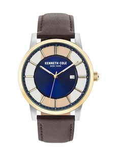 Kenneth Cole Transparency Stainless Steel & Leather-Strap Watch