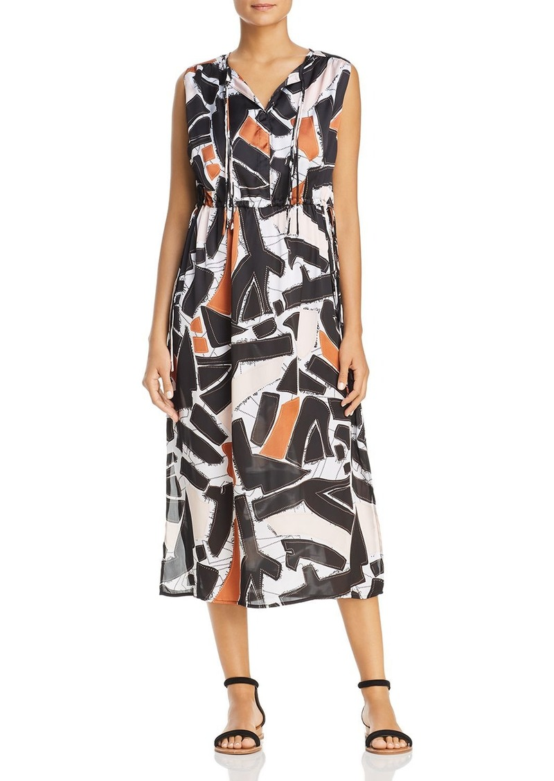 Kenneth Cole Triple Tie Neck Abstract Print Midi Dress