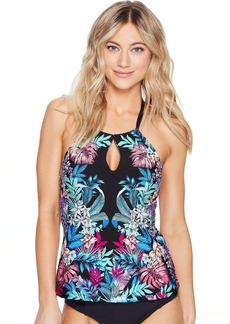 Tropical Tendencies High Neck Keyhole Tankini Top w/ Tummy Toner
