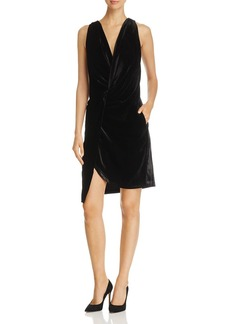 Kenneth Cole Twist-Front Velvet Dress