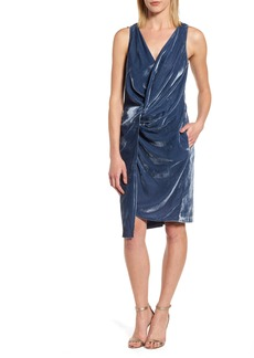 Kenneth Cole Twisted Faux Wrap Velvet Dress