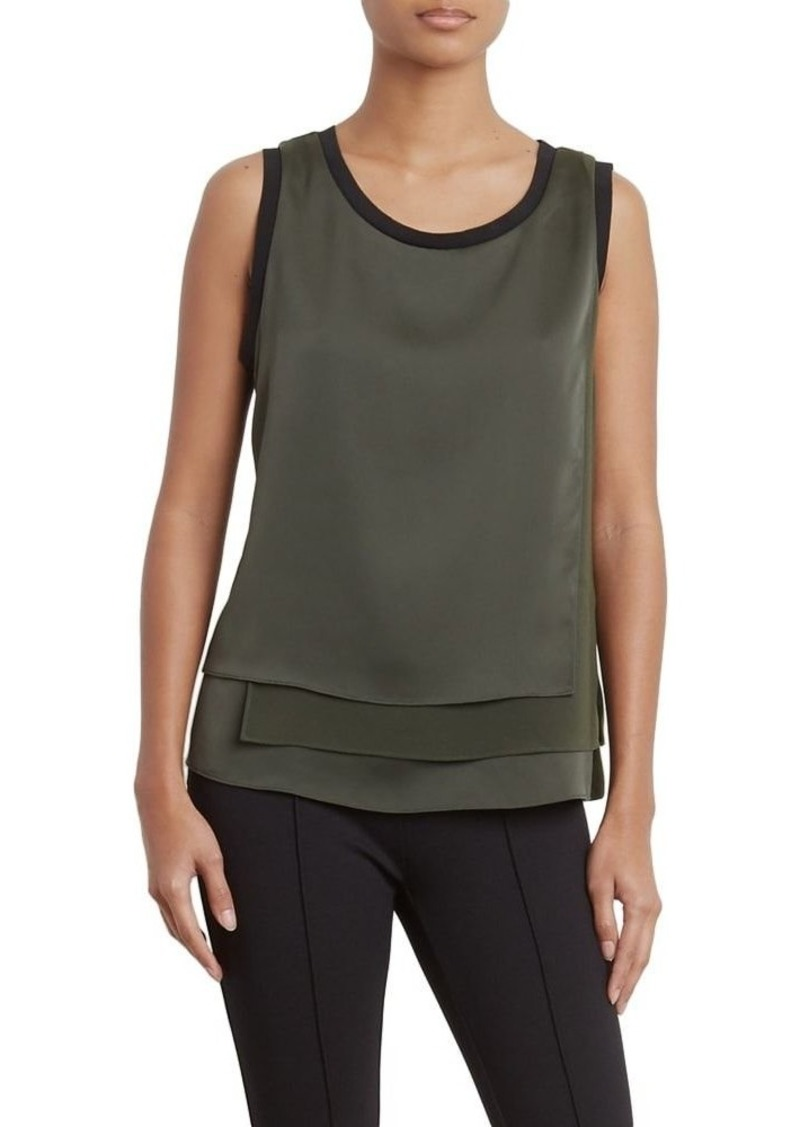 Kenneth Cole Women's 3-Layer Sleeveless Top deep Forest