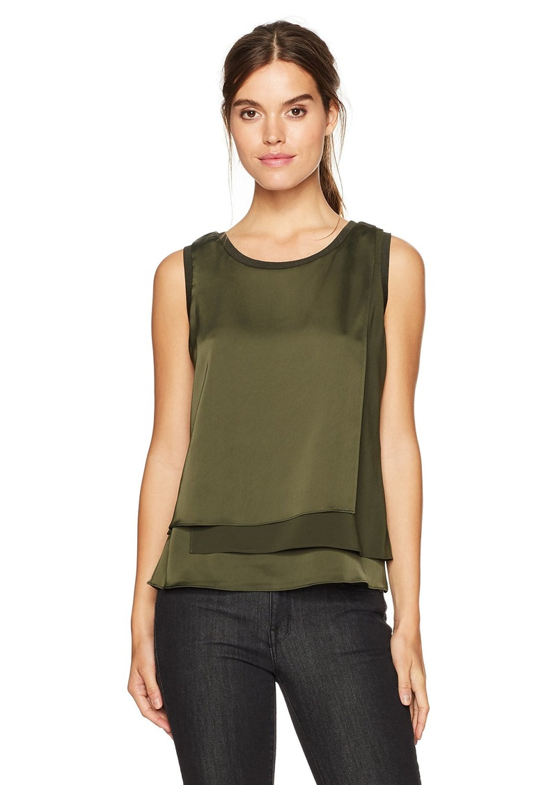 Kenneth Cole Women's 3-Layer Sleeveless Top deep Forest S