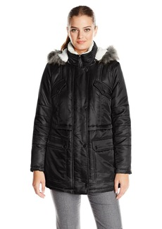 Kenneth Cole Women's Anorak Parka with Sherpa Trim  Large