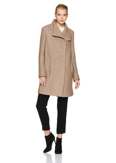 Kenneth Cole Women's Asymmetrical Pressed Boucle Wool Coat with Snap Closures  L